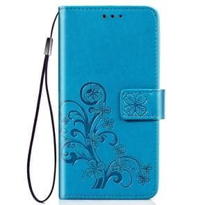 Vier blad clasp reliëf Buckle mobiele telefoon bescherming lederen draagtas met Lanyard & Card slot & portemonnee & beugel functie voor iPhone XIR (2019) (blauw)