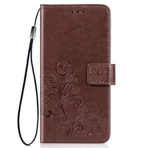 Four-leaf Clasp Embossed Buckle Mobile Phone Protection Leather Case with Lanyard & Card Slot & Wallet & Bracket Function for iPhone 11 Pro(Brown)