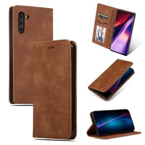 Retro Skin Feel Business Magnetic Horizontal Flip Leather Case for Galaxy Note 10(Brown)