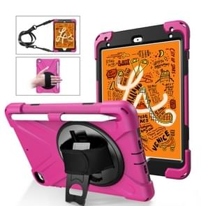 Shockproof Colorful Silica HDW + PC Protective Case for iPad Mini 2019 / Mini 4, with Holder & Shoulder Strap & Hand Strap & Pen Slot(Hot Pink)