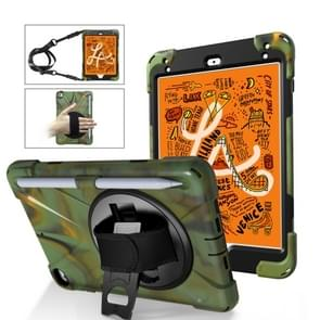 Shockproof Colorful Silica HDW + PC Protective Case for iPad Mini 2019 / Mini 4, with Holder & Shoulder Strap & Hand Strap & Pen Slot(Army Green)