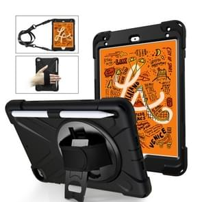 Shockproof Colorful Silica HDW + PC Protective Case for iPad Mini 2019 / Mini 4, with Holder & Shoulder Strap & Hand Strap & Pen Slot(Black)