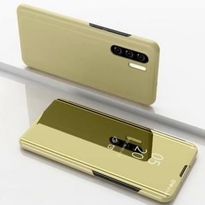 Plating spiegel links en rechts Flip cover met beugel holster voor Galaxy Note 10 Pro (goud)