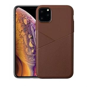 Ultra-thin Shockproof Soft TPU + Leather Case for iPhone XI 2019(Brown)