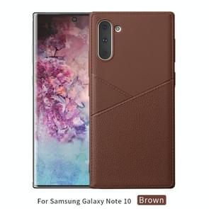 Ultradunne schokbestendige Soft TPU + lederen draagtas voor Galaxy Note10 (bruin)