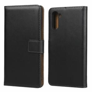 Leather Horizontal Flip Holster for Galaxy Note10 with Magnetic Clasp and Bracket and Card Slot and Wallet(Black)