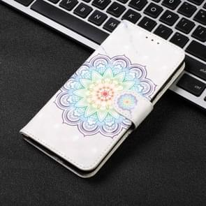 3D Visual Painting Horizontal Flip Leather Case for iPhone XIR 2019, With Bracket & Card Slot & Wallet & Bracelet(Mandala Pattern)