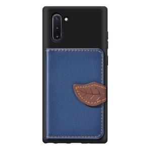 Blad gesp Litchi textuur kaarthouder PU + TPU case met kaartsleuf & portemonnee & houder & fotolijstjes voor Galaxy Note10 (blauw)