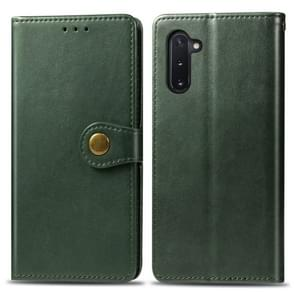 Retro Solid Color Leather Buckle Mobile Phone Protection Leather Case with Photo Frame & Card Slot & Wallet & Bracket Function for Galaxy Note 10(Green)