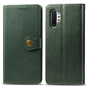 Retro Solid Color Leather Buckle Mobile Phone Protection Leather Case with Photo Frame & Card Slot & Wallet & Bracket Function for Galaxy Note10+(Green)