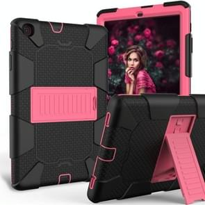 Schokbestendige tweekleurige siliconen beschermhoes met houder voor Galaxy tab A 10 1 (2019)/T510 (zwart + fuchsia roze)