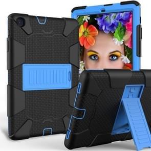 Schokbestendige tweekleurige siliconen beschermhoes met houder voor Galaxy tab A 10 1 (2019)/T510 (zwart + blauw)