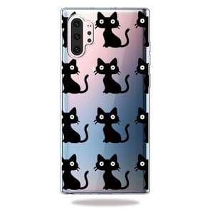 Fashion Soft TPU Case 3D Cartoon Transparent Soft Silicone Cover Phone Cases For Galaxy Note10+(Black Cat)