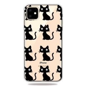 Fashion Soft TPU Case 3D Cartoon Transparent Soft Silicone Cover Phone Cases For iPhone 11(Black Cat)