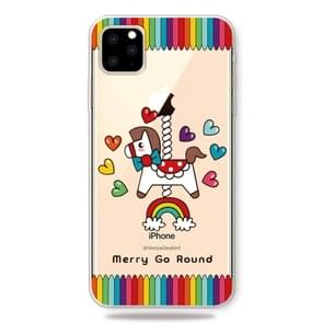 Fashion Soft TPU Case 3D Cartoon Transparent Soft Silicone Cover Phone Cases For IPhone XI 2019(Merry-go-round)