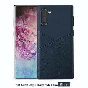 Ultra-thin Shockproof Soft TPU + Leather Case for Galaxy Note10+ / Note10+ 5G(Blue)