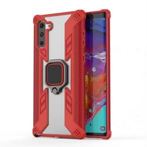 Iron Warrior Shockproof PC + TPU Protective Case for Galaxy Note10 / Note10 5G , with Ring Holder(Red)