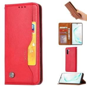 Knead Skin Texture Horizontal Flip Leather Case for Galaxy Note10, with Photo Frame & Holder & Card Slots & Wallet(Red)