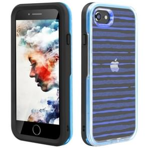 2 in 1 TPU+PC Solid Color Combination Drop For iPhone 8Plus / 7Plus(Black+Blue)