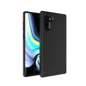 Ultra-thin TPU+PC Brushed Texture Shockproof Protective Case for Galaxy Note10, with Holder & Card Slot(Black)