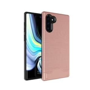Ultra-thin TPU+PC Brushed Texture Shockproof Protective Case for Galaxy Note10+, with Holder & Card Slot(Rose gold)