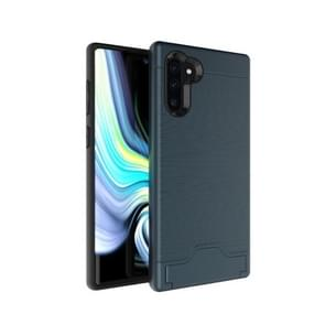 Ultra-thin TPU+PC Brushed Texture Shockproof Protective Case for Galaxy Note10+, with Holder & Card Slot(Navy blue)