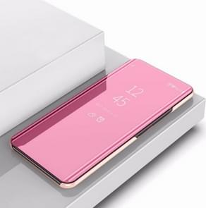 Plating Mirror Left and Right Flip Cover with Bracket Holster for iPhone XI 2019(Rose gold)
