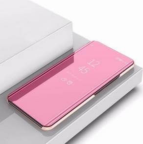 Plating spiegel links en rechts Flip cover met beugel holster voor iPhone XI MAX 2019 (Rose goud)
