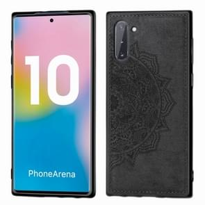 Embossed Mandala Pattern Magnetic PC + TPU + Fabric Shockproof Case for Galaxy Note10, with Lanyard(Black)