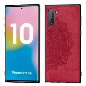 Embossed Mandala Pattern Magnetic PC + TPU + Fabric Shockproof Case for Galaxy Note10, with Lanyard(Red)