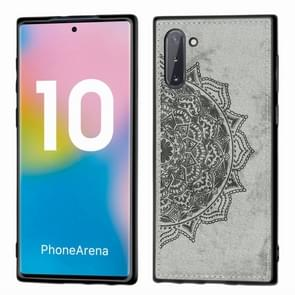 Embossed Mandala Pattern Magnetic PC + TPU + Fabric Shockproof Case for Galaxy Note10, with Lanyard(Gray)
