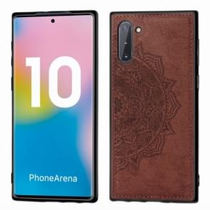 Embossed Mandala Pattern Magnetic PC + TPU + Fabric Shockproof Case for Galaxy Note10, with Lanyard(Brown)