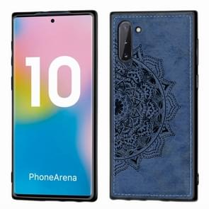 Embossed Mandala Pattern Magnetic PC + TPU + Fabric Shockproof Case for Galaxy Note10, with Lanyard(Blue)