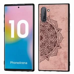 Embossed Mandala Pattern Magnetic PC + TPU + Fabric Shockproof Case for Galaxy Note10, with Lanyard(Rose Gold)