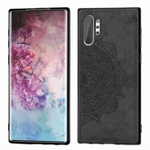 Embossed Mandala Pattern Magnetic PC + TPU + Fabric Shockproof Case for Galaxy Note10+, with Lanyard(Black)