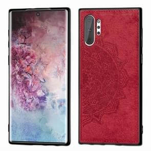 Embossed Mandala Pattern Magnetic PC + TPU + Fabric Shockproof Case for Galaxy Note10+, with Lanyard(Red)