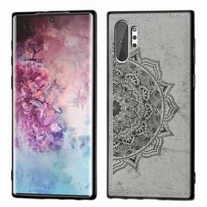 Embossed Mandala Pattern Magnetic PC + TPU + Fabric Shockproof Case for Galaxy Note10+, with Lanyard(Gray)