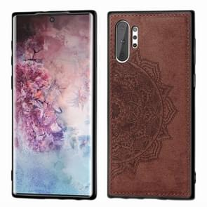 Embossed Mandala Pattern Magnetic PC + TPU + Fabric Shockproof Case for Galaxy Note10+, with Lanyard(Brown)
