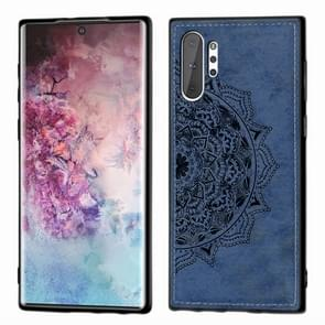 Embossed Mandala Pattern Magnetic PC + TPU + Fabric Shockproof Case for Galaxy Note10+, with Lanyard(Blue)