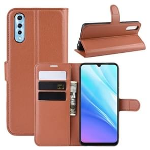 Litchi Texture Horizontal Flip Leather Case for VIVO Y7s / IQOO Neo , with Wallet & Holder & Card Slots(Brown)