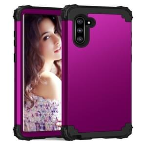 PC+ Silicone Three-piece Anti-drop Protection Case for Galaxy Note10(Dark purple)