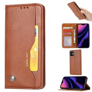 Knead Skin Texture Horizontal Flip Leather Case for iPhone 11 , with Photo Frame & Holder & Card Slots & Wallet(Brown)