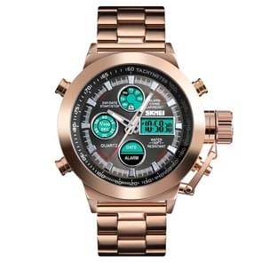 SKMEI 1515 Men Fashion Hip Hop Style Dual Display Electronic Watch Stainless Steel Watch(Rose Gold)