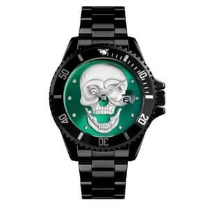 SKMEI 9195 Fashion Water-inlaid Drill Skull Nightlight Waterproof Quartz Watch Steel Strip Watch for Men(Black Green)