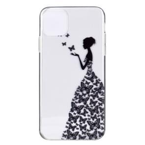 Stylish and Beautiful Pattern TPU Drop Protection Case for iPhone 11 Pro(Butterfly girl)