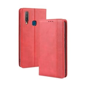 Magnetic Buckle Retro Crazy Horse Texture Horizontal Flip Leather Case fo Vivo Y17 / Y15 / Y3, with Holder & Card Slots & Photo Frame(Red)