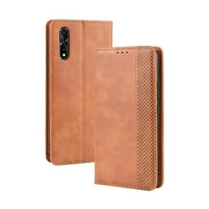 Magnetic Buckle Retro Crazy Horse Texture Horizontal Flip Leather Case for vivo iQOO Neo/S1/Y7S/Z5,with Holder & Card Slots & Photo Frame(Brown)