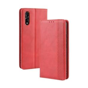 Magnetic Buckle Retro Crazy Horse Texture Horizontal Flip Leather Case for vivo iQOO Neo/S1/Y7S/Z5,with Holder & Card Slots & Photo Frame(Red)