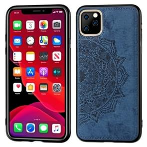 Embossed Mandala pattern PC + TPU + Fabric Phone Case for iPhone 11 Pro Max , with Lanyard & Magnetic(Blue)