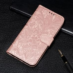 Lace Flower Embossing Pattern Horizontal Flip Leather Case for iPhone XIR 2019, with Holder & Card Slots & Wallet & Photo Frame & Lanyard(Rose Gold)